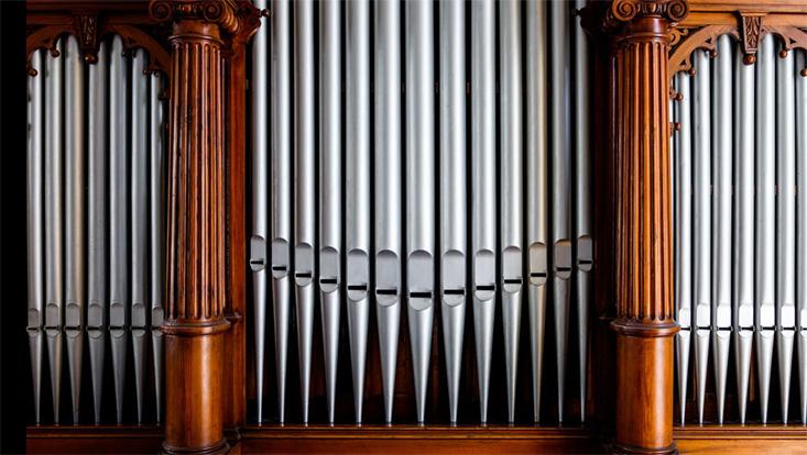 Detailansicht der Orgel im Musikwissenschaftlichen Institut