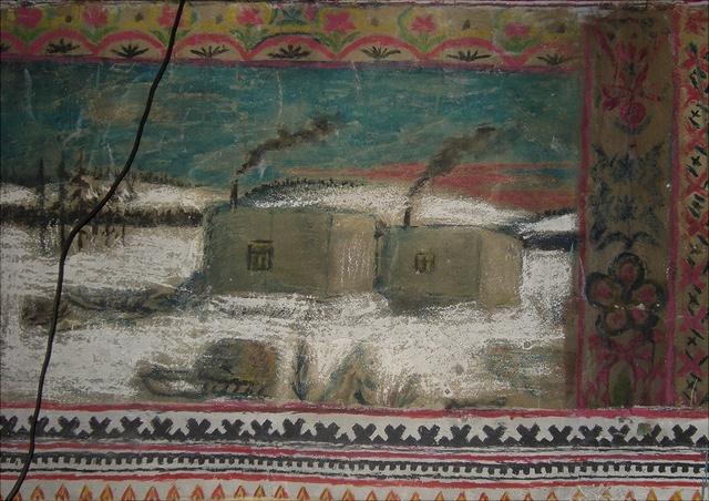 gemaltes Wandbild von einem Haus