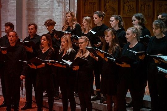 Der Chor der Universität Hamburg singt zum Festgottesdienst in St. Katharinen am 28.10.2019