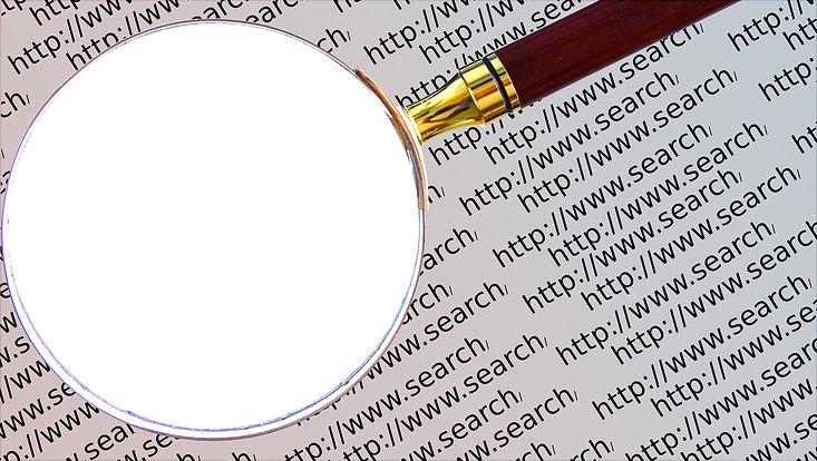 Lupe durchsucht Text