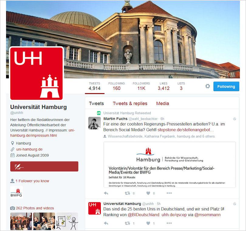 Startseite UHH twitter