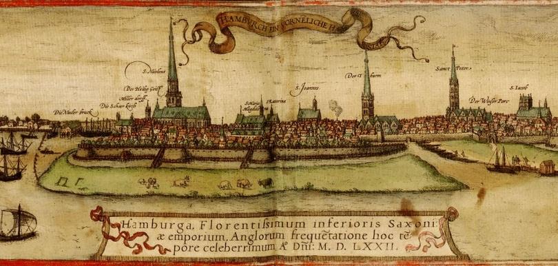 Mittelalterliche Karte von Hamburg