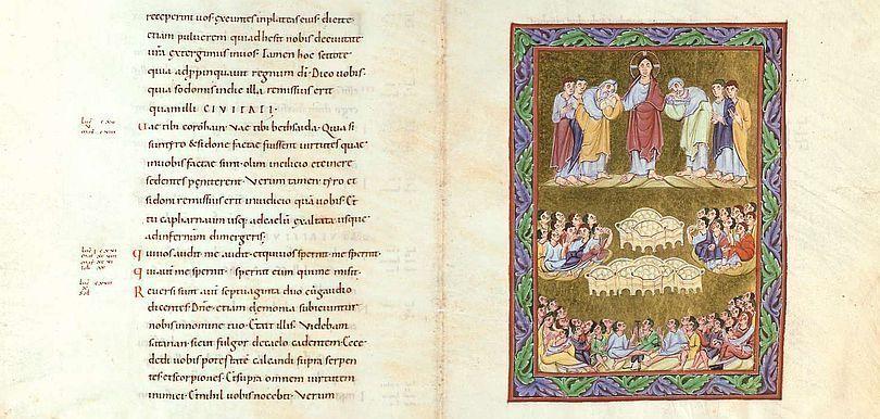 Lukasevangelium mit der Miniatur der Speisung der Fünftausend, fol 162v/163r