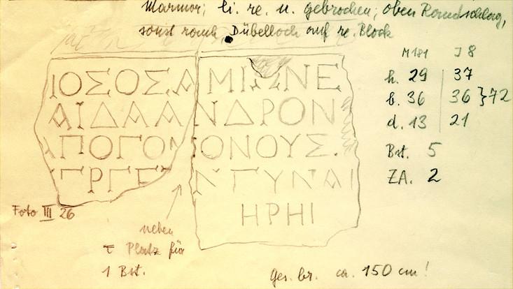 Peter Herrmann, Schede von IG XII 6,1,327, Ehrenbeschluss für die Hera-Priesterin Athenais, Tochter des Andronikos, Samos, 2. H. 1. Jh. v. Chr.