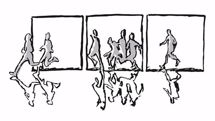 grafische Darstellung fliehender Menschen