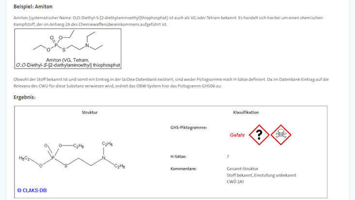 Beispiel Online-Bewertung Gefahrstoffe