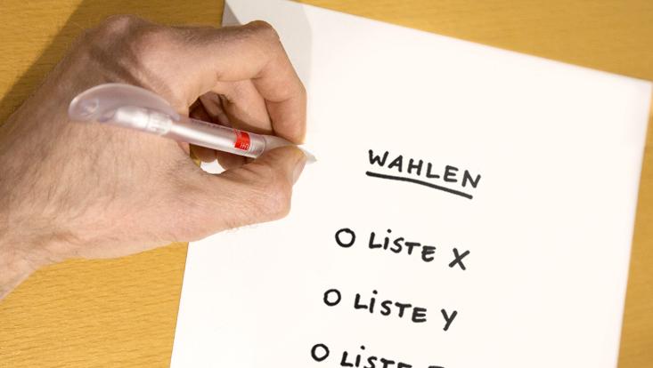 Wahlzettel mit Liste X, Y, ...