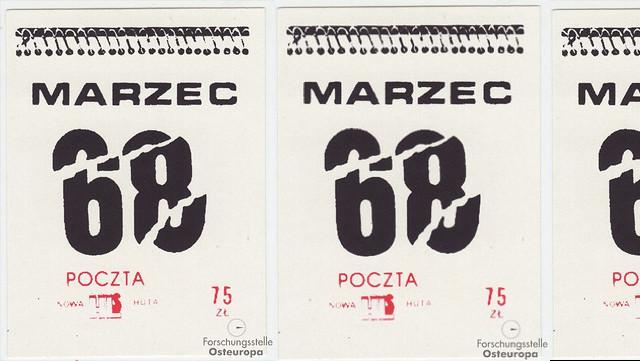 alte Kalendarblätter März 68 mit Poststempel