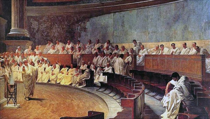Cicero klagt Catilina an, Cesare Maccari (1888)