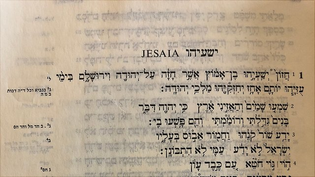 Auszug aus dem ersten Kapitel des Jesajabuches aus der BHS.